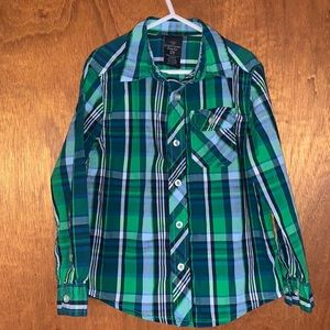Faded Glory Blue & Green Button Down Shirt Sm 6-7